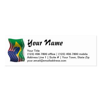 Bandeira de ondulação Brasileiro-Americana Cartão De Visita Skinny