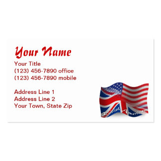 Bandeira de ondulação Britânico-Americana Cartão De Visita