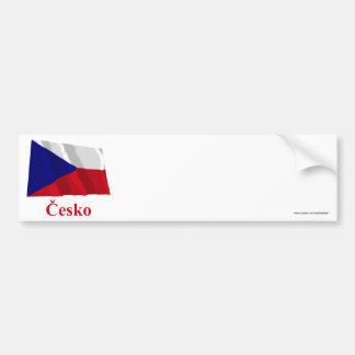 Bandeira de ondulação da república checa com nome  adesivo para carro