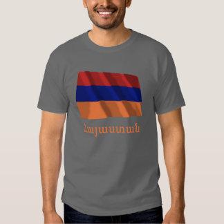 Bandeira de ondulação de Arménia com nome no Camisetas