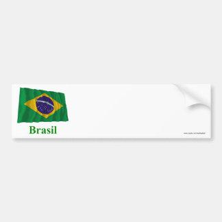 Bandeira de ondulação de Brasil com nome no portug Adesivo
