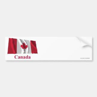 Bandeira de ondulação de Canadá com nome Adesivos