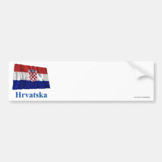 Bandeira de ondulação de Croatia com nome no croat Adesivos