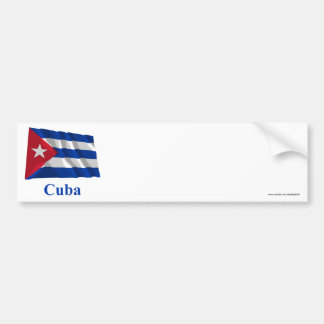 Bandeira de ondulação de Cuba com nome Adesivo Para Carro