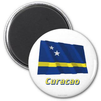 Bandeira de ondulação de Curaçau com nome Ímã Redondo 5.08cm