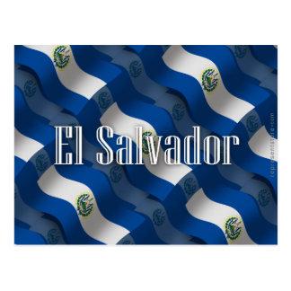 Bandeira de ondulação de El Salvador Cartão Postal