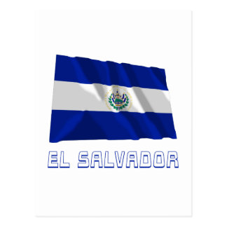Bandeira de ondulação de El Salvador com nome Cartão Postal