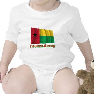 Bandeira de ondulação de Guiné-Bissau com nome no Macacãozinhos Para Bebê