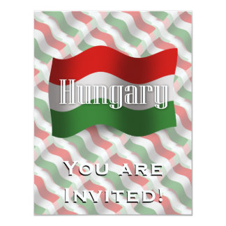 Bandeira de ondulação de Hungria Convite 10.79 X 13.97cm