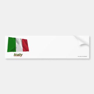 Bandeira de ondulação de Italia com nome Adesivos