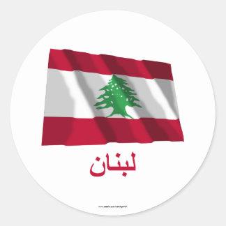 Bandeira de ondulação de Líbano com nome no árabe Adesivos Redondos