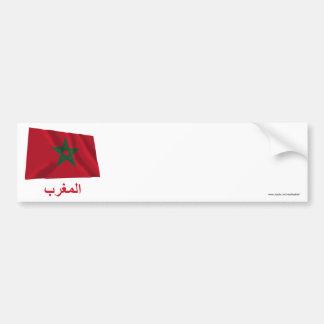 Bandeira de ondulação de Marrocos com nome no árab Adesivo Para Carro