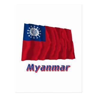 Bandeira de ondulação de Myanmar com nome 1974-201 Cartoes Postais