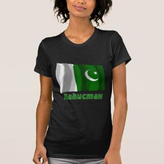 Bandeira de ondulação de Paquistão com nome no Camiseta