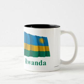 Bandeira de ondulação de Rwanda com nome Caneca De Café Em Dois Tons