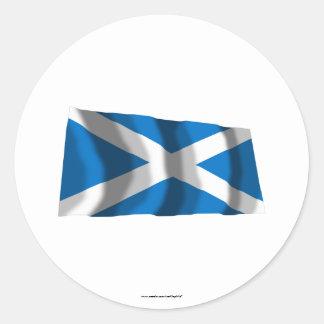 Bandeira de ondulação de Scotland St Andrew Adesivos Redondos
