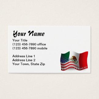 Bandeira de ondulação do méxico-americano cartão de visitas