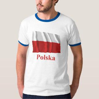 Bandeira de ondulação do Polônia com nome no Camiseta