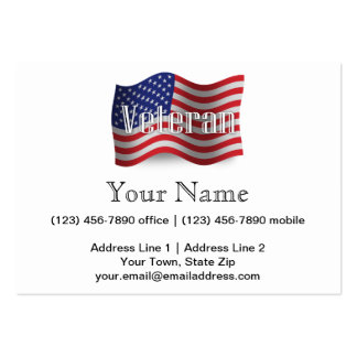 Bandeira de ondulação do veterano dos Estados Cartão De Visita Grande