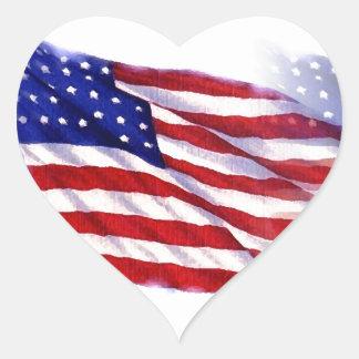 Bandeira de ondulação dos E.U. Adesivo Coração