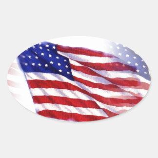 Bandeira de ondulação dos E.U. Adesivo Oval