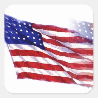 Bandeira de ondulação dos E.U. Adesivo Quadrado