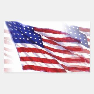 Bandeira de ondulação dos E.U. Adesivo Retangular