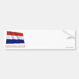 Bandeira de ondulação holandesa com nome adesivo para carro
