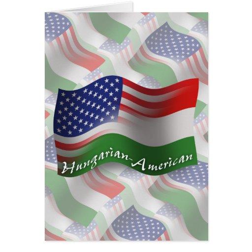 Bandeira de ondulação Húngaro-Americana Cartao