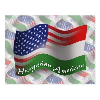 Bandeira de ondulação Húngaro-Americana Cartão Postal