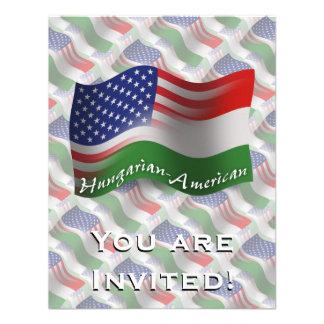Bandeira de ondulação Húngaro-Americana Convites