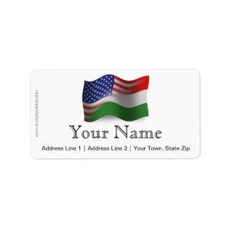 Bandeira de ondulação Húngaro-Americana Etiqueta De Endereço