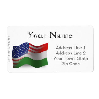 Bandeira de ondulação Húngaro-Americana Etiqueta De Frete