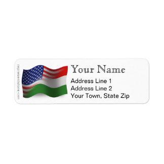 Bandeira de ondulação Húngaro-Americana Etiqueta Endereço De Retorno