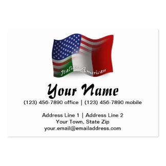 Bandeira de ondulação Italiano-Americana Cartão De Visita Grande
