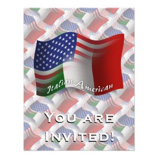 Bandeira de ondulação Italiano-Americana Convites Personalizados