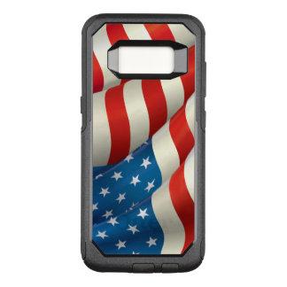 Bandeira de ondulação patriótica dos E.U. Capa OtterBox Commuter Para Samsung Galaxy S8