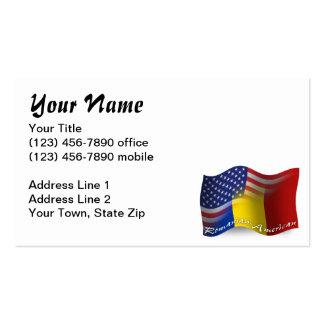 Bandeira de ondulação Romeno-Americana Cartão De Visita