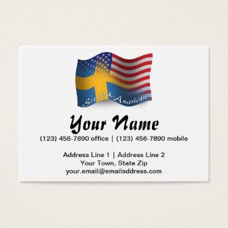 Bandeira de ondulação Sueco-Americana Cartão De Visitas