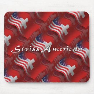 Bandeira de ondulação Suíço-Americana Mouse Pad