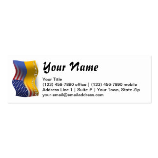 Bandeira de ondulação Ucraniano-Americana Cartão De Visita Skinny
