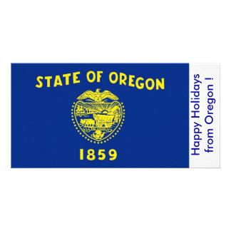 Bandeira de Oregon, boas festas dos EUA Cartão Com Foto