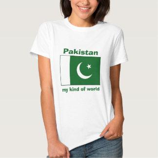 Bandeira de Paquistão + Mapa + T-shirt do texto
