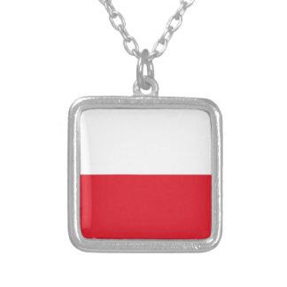 Bandeira de Polonian Colar Banhado A Prata