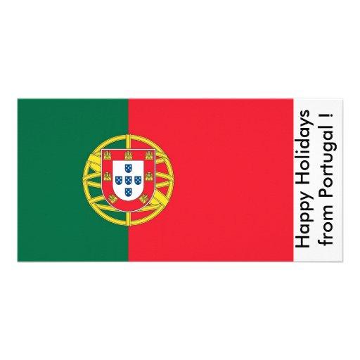 Bandeira de Portugal, boas festas de Portugal Cartao Com Foto Personalizado