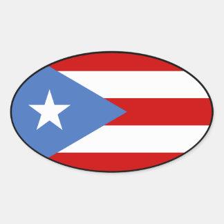 Bandeira de Puerto Rico Adesivo Oval