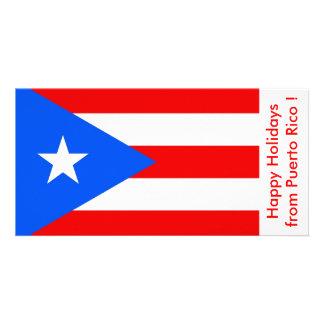 Bandeira de Puerto Rico boas festas dos EUA Cartoes Com Foto