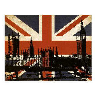 Bandeira de Reino Unido com a silhueta do Cartão Postal