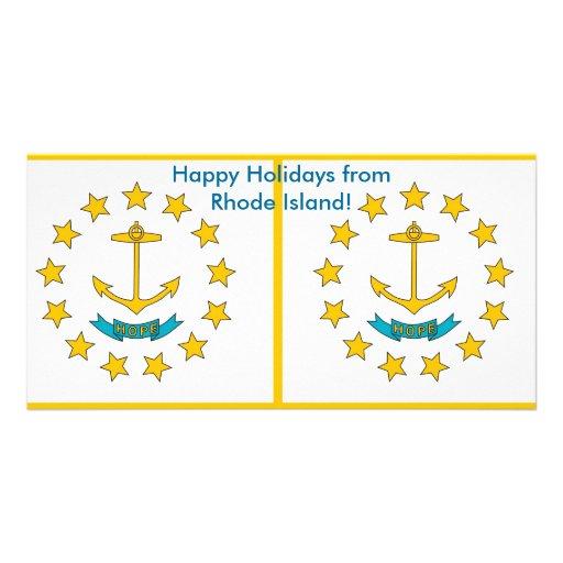 Bandeira de Rhode - ilha, boas festas dos EUA Cartao Com Foto