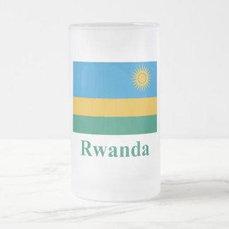 Bandeira de Rwanda com nome Caneca De Cerveja Vidro Jateado